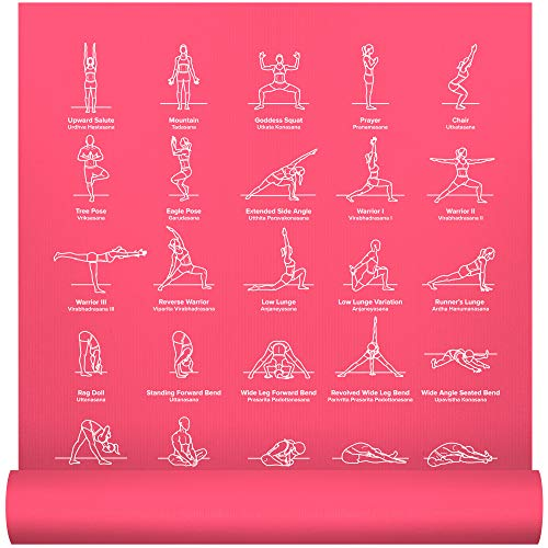 """NewMe Fitness Instructional Yoga Mat, Pink, Printed w/ 70 Illustrated Poses, 24"""" Wide x 68"""" Long, for Women & Men : Non Slip, Eco Friendly PVC, Non Toxic : for Home or Gym : 5mm Thick"""