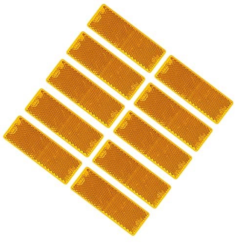 BEIJISTAR 10 Stück Gelb Rechteckig Selbstklebend Reflektor, Anhänger Rechteckig RückstrahlerKatzenauge Reflektor, Reflektor für Torpfosten Zäune Anhänger LKW RV Wohnwagen