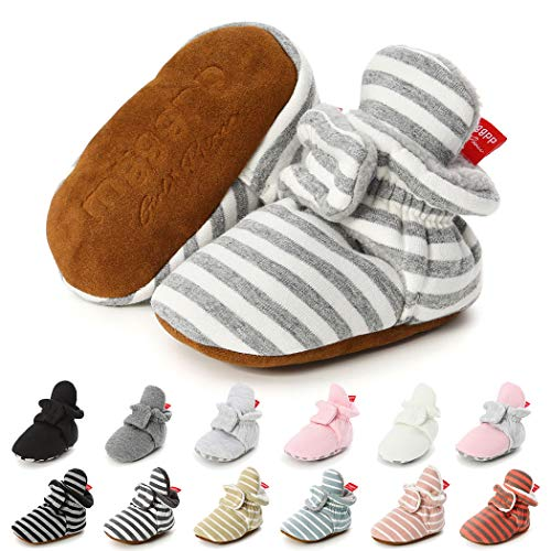 Baby Boys Girls Fleece Booties Infant Cotton Socks Newborn Soft Sole Winter Warm Stay On Slippers Non-Skid Cozy Crib Shoes(6-12 Months M US Infant,F-Light Gray)