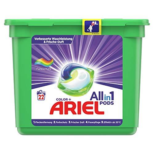 Ariel Waschmittel Pods All-in-1, Color Waschmittel, 22 Waschladungen, Frischer Wäscheduft und Farbschutz