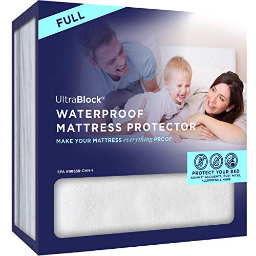 UltraBlock Full Size Waterproof Mattress Protector - Premium Soft Cotton Terry Cover