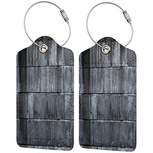 FULIYA Juego de 2 etiquetas de equipaje seguras de alta gama de cuero para maletas, tarjetas de visita o bolsa de identificación de viaje, textura, pared, ladrillo, puntos, gris