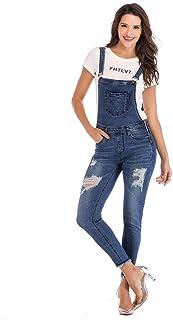 DISNAI Women's Distressed Skinny Jeans Adjustable Strap Bib Denim Overalls