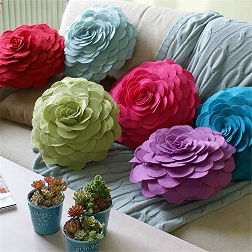 N / A Cojín de Flores de Fieltro Rosa decoración Hecha a Mano Almohada Cama sofá Coche Sala de Estar hogar decoración de la Boda Ronda 34x34 cm