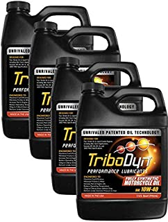 TriboDyn 10W40 Full Synthetic Motorcycle Oil - 4 US Quart Value Pack (Save 5%) - Lowers Operating Temps - Improves Mileage - Unmatched Protection