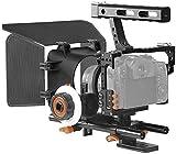 Andoer Kit de montaje para cámara C500 de aleación de aluminio con jaula de cámara, Matte Box+, seguimiento, Follow Focus, mango + 15 mm de Rod