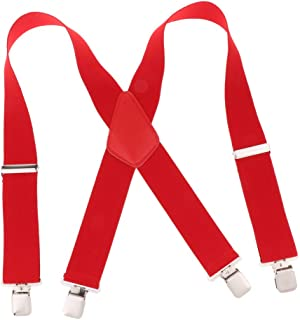 Blesiya Mens Suspenders X Style with Strong Clips, Adjustable One Size Fits All Heavy Duty Braces(khaki/coffee/wine red/red/white/black/navy)