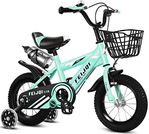 HCMNME Durable Bicycle 2020 New Mountain Bike for Kids, Boys Girls Sporty Bicycle with Training Wheels and Basket, High-Carbon Steel 12 14 16 18 Inch Child Bike for 2-12 Years Old,Green,16inch A