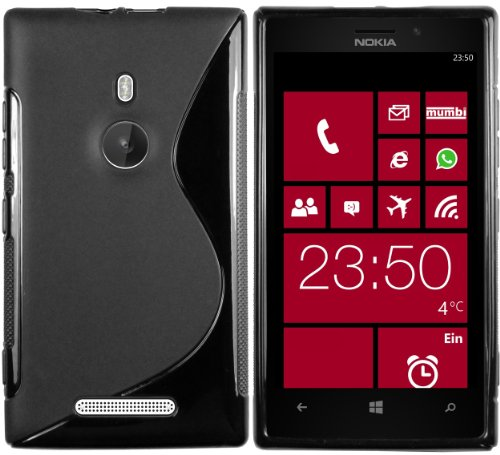 mumbi Hülle kompatibel mit Nokia Lumia 925 Handy Case Handyhülle, schwarz