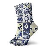 artyly Calcetines de tobillo con patrón de azulejos de Talavera estilizados mexicanos Calcetines casuales cómodos para hombres Mujeres Yoga Senderismo Ciclismo Correr Fútbol Deportes