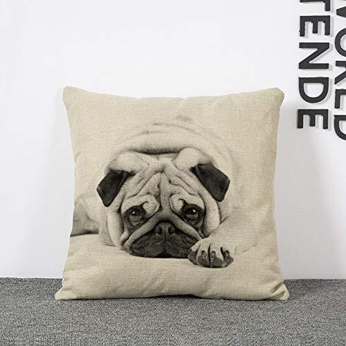 Kissenbezug Lustige Schöne Tier Hund Muster Büro Sofa Kissenbezug Baumwolle Leinen Dekorative Kissen Kissenbezug 45*45CM - Beige Weiß Und Schwarz