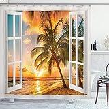 ABAKUHAUS Strand Duschvorhang, Sea Ocean Palms Landschaft, Moderner Digitaldruck mit 12 Haken auf Stoff Wasser & Bakterie Resistent, 175 x 200 cm, Braun Weiß Gelb Blau