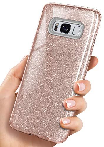ONEFLOW Glitzer Hülle kompatibel mit Samsung Galaxy S8 Glitter Case, dreilagig für zusätzlichen Schutz, glänzende Silikon Handyhülle, Roségold