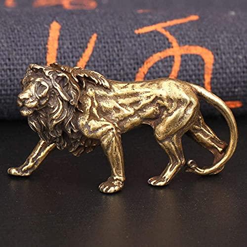 JJDSN 2 uds Retro latón León Rey Miniaturas Figuras Adornos de Escritorio Estatua de Cobre Puro Artesanías de Metal Decoraciones para el hogar Llavero Colgantes
