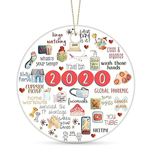 2020 Christmas Ornament Two-Side Printed Quarantine Ornament Ceramic Gift Xmas Tree Ornament Hanging Accessories 2020 Commemorative Funny Ornament-Merry Christmas (Caise 2020)