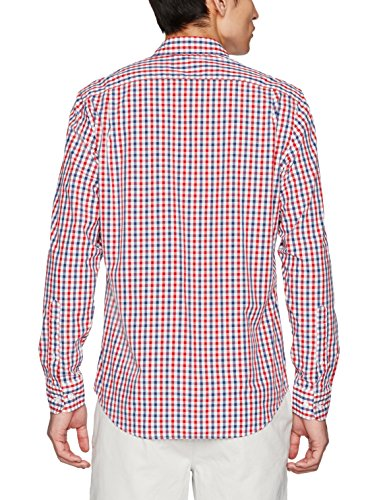 Goodthreads Men's Standard-Fit Long-Sleeve Two-Color Gingham Shirt, Red/Blue, XX-Large