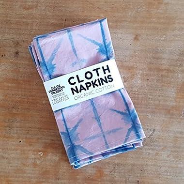 Organic Hand Dyed Shibori Cloth Napkins in Quebracho and Indigo
