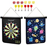 CLISPEED Magnetic Dart Board Game Roll Up Double Sided Dartboard with 6 Throwing Darts and 6 Sticky Dart Balls