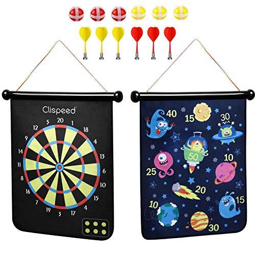 CLISPEED Magnetisches Dartscheibe Dartspielset Doppelseitige Dartscheibe für Kinder kinderdartscheibe mit 6 Wurfpfeilen Und 6 Klebrigen Bälle