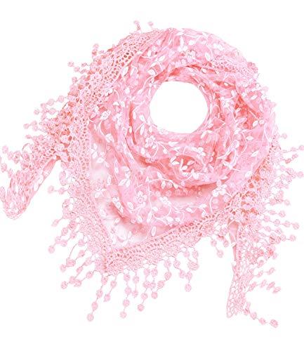 Caripe Damen Dreieckstuch Halstuch Spitze Schal Blumen Glitzer Glitzerschal, glittra (rosa)