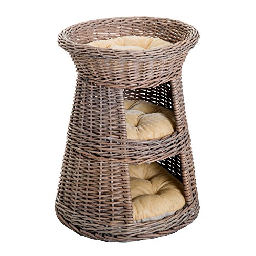 PawHut Wicker Elevated Cat Bed Tree House Condo with Cushions