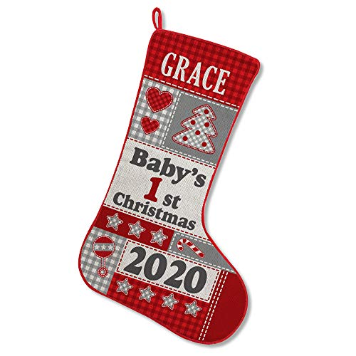 Let's Make Memories Personalized Christmas Stocking - Baby's First Christmas - for Newborns - Customized Stocking for Baby - Holiday Decor - Custom Christmas Stocking in Festive Red/Gray - 19'