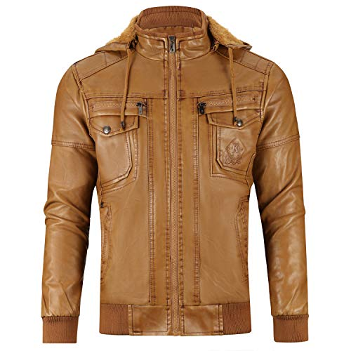 WULFUL Men's Faux Leather Jacket with Removable Hood Winter Vintage Leather Coat Brown