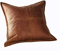 DOLLY LAMB 100% Lambskin Leather Pillow Cover - Sofa Cushion Case - Decorative Throw Covers for Living Room & Bedroom - 22x22 Inches - Antique Brown Pack of 1