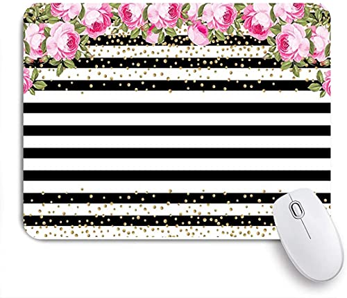 JISMUCI Gaming Mouse Pads,Black and White Stripe Pink Rose Flower Birthday Backdrop,Mouse Mats Non-Slip Rubber Base Mousepad for Laptop,Computer,Office 9.5'x7.9'