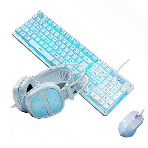 WEINANA 3 En 1 Combo De Teclado Y Mouse USB para Juegos Kit De Mouse con Teclado Retroiluminado RGB Sensación Mecánica Ergonómica para Jugadores De PC con Windows Y Mac(Color:B)