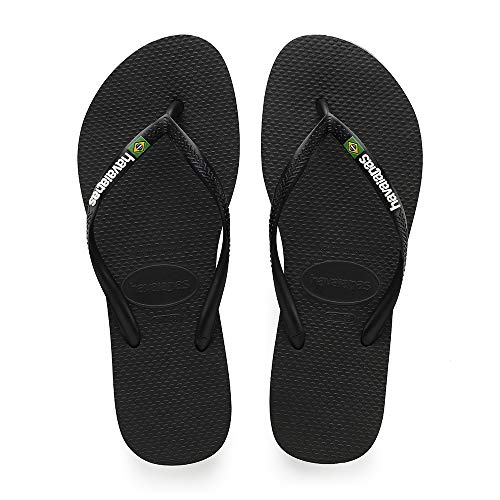 Havaianas Women's Slim Brazil Flip Flop Sandal, Black, 11/12 M US