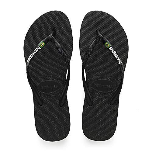 Havaianas Women's Slim Brazil Flip Flop Sandal, Black, 7/8 M US
