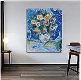 YYLPRQQ Marc Chagall Modigliani Flores Pared Arte Lienzo Pintura Carteles Impresiones Pintura Cuadro De Pared para Decoración del Hogar-60X80 Cm Sin Marco