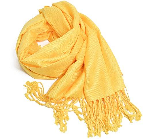 Hochwertige Pashmina-Schals und Tücher in einfarbigen Farben. - Gelb - Einheitsgröße