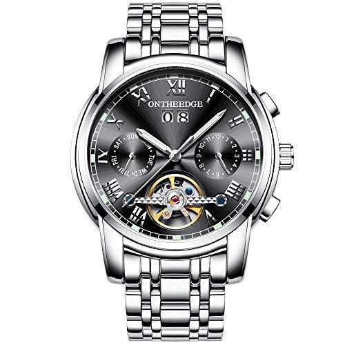 RORIOS Moda Business Hombres Automático Mecánico Tourbillon Relojes de Pulsera Acero Inoxidable Correa Luminoso Puntero Calendario Multifunción
