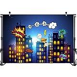 bailingniao Fondo de fotografía de superhéroe para fiesta de cumpleaños, diseño de la ciudad, con cielo estrellado, 2,1 x 1,5 m