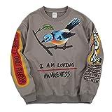 NAGRI Kanye I Am Loving Awareness Sweatshirt Graffiti Men Letter Print Crewneck Hip Hop Streetwear Hoodie Grey