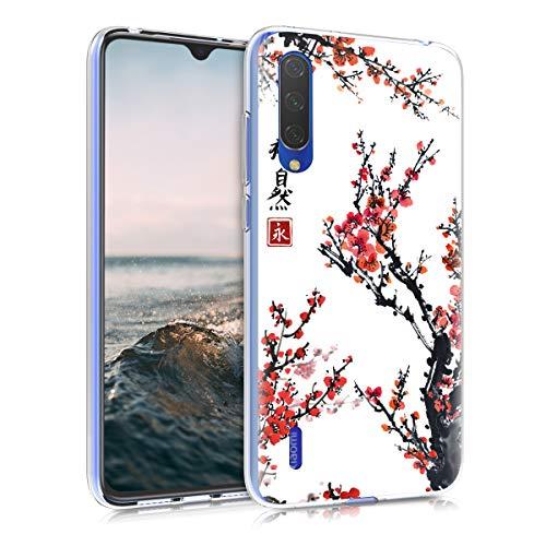 kwmobile Funda Compatible con Xiaomi Mi 9 Lite - Carcasa de TPU y Flores Chinas en Rojo/Negro/Blanco