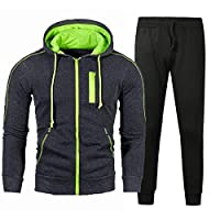 メンズカジュアルトラックスーツTシャツとパンツジョギングアスレチックセット長袖ジップカーディガンフード付きセーターユースジャケット-暗灰色_2倍-大