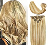Clip In Human Hair Extensions Mixed Bleach Blonde Extension Clip ins New Version Thickened Double Weft 9A Brazilian Hair 120g 7pcs Full Head Silky Straight 100% Human Hair Clip In Extensions 18 Inch