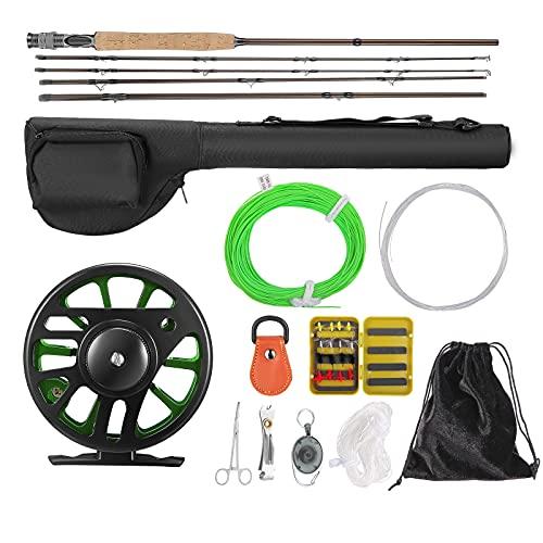 Kacsoo Combo de caña de Pescar y Carrete,5 Piezas Ultra Peso portátil caña de Pescar y Carrete de Aluminio mecanizado CNC Paquete Completo de Arranque para Principiantes y Pescadores Expertos