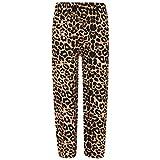 Kids Girls Palazzo Flared Wide Leg Pants Baggy Legging Loose Summer Trouser 7-13 Leopard Brown
