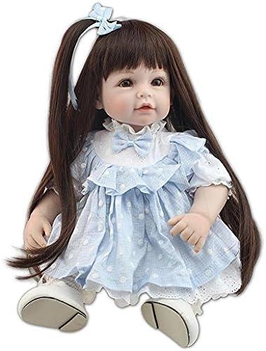 SHTWAD Simulation Reborn Baby Puppe Langes Haar Prinzessin Gekleidet Mode Sch  Silikagel Kinder Spielzeug 52 cm