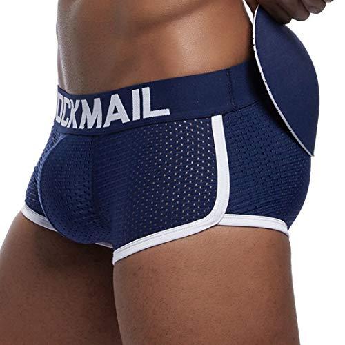 Pinji - Bóxers Ajustado para Hombre con Cojín Rellenos de Esponjas Delanteras y Traseras, Ropa Interior Calzoncillos Underwear de Malla Transpirable Y Cómodo