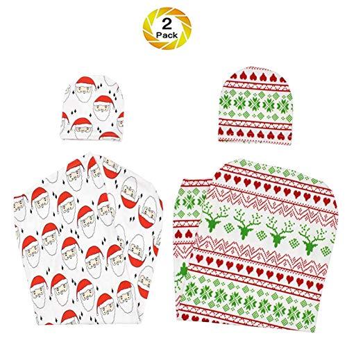 YWXJY nouveau-né Cocoon Swaddle Christmas Sac de couchage Wrap recevant la couverture garçon fille avec bandeau et chapeau, Photographie nouveau-né, emmailloter Dos, 2 Packs, D