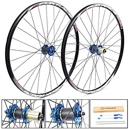 GJZhuan Ruedas de Bicicleta MTB 26/27,5 Pulgadas, Aleación de Aluminio de Doble Pared Llantas Freno de Disco Liberación Rápida 24 Agujero 7/8/9/10/11 Velocidad (Color : Blue, Size : 26inch)