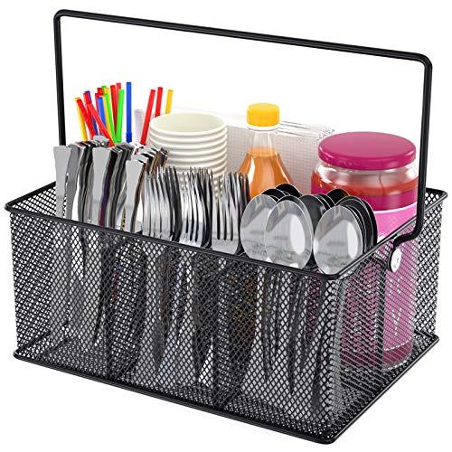 FURNINXS Utensil Caddy, Silverware Flatware Caddy Mesh Kitchen Cutlery Holder Organizer Condiment Storage for Countertop, Parties, Camping Outdoor (Black)