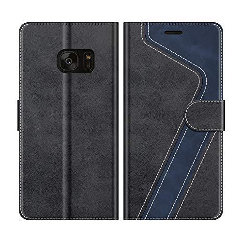 MOBESV Handyhülle für Samsung Galaxy S7 Edge Hülle Leder, Samsung Galaxy S7 Edge Klapphülle Handytasche Case für Samsung Galaxy S7 Edge Handy Hüllen, Modisch Schwarz
