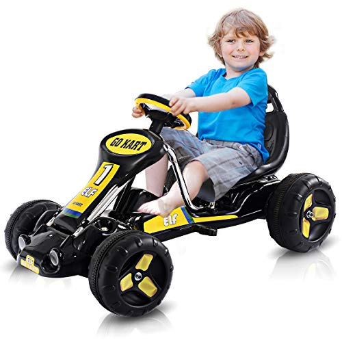 HONEY JOY Pedal Go Kart for Kids, Foot Pedal-Powered Racing Car w/3-Level Adjustable Seat, Steering Wheels, 4 Anti-Slip Tires, Outdoor Ride On Street Kart Toys for Children (Black)