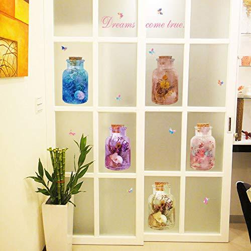 Wall Sticker Dream Flower Glass Bottle Home Decor Living Room Bedroom Balcony Cabinet Door Glass Window Art Decals